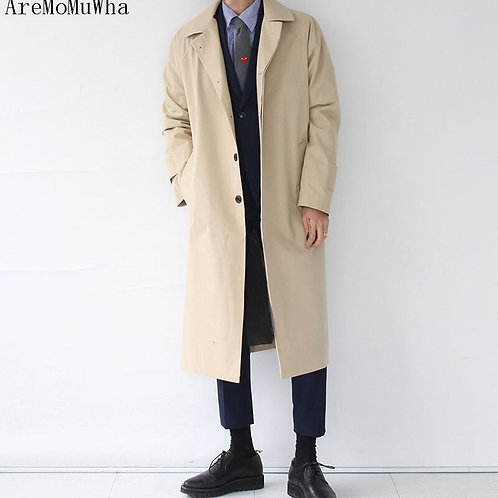 Spring and Autumn New Style Men Windbreaker Extra Long Knee Coat Business Casual