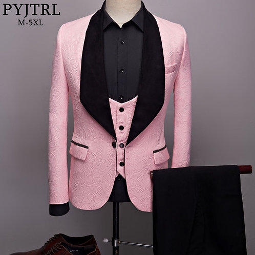 Three Pieces Set Pink Red Blue White Black Wedding Groom Suits