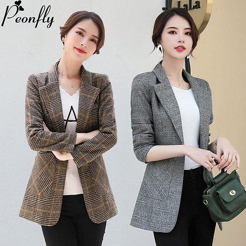 PEONFLY Vintage Office Lady Notched Collar Plaid Women Blazer Single Jacket