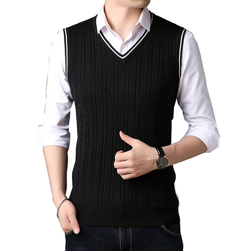 Men Clothes 2020 Autumn Winter New Classic V-Neck Sleeveless Sweater Mens