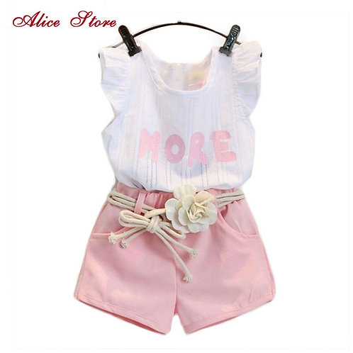 New Children Clothes Sets for Girls Fly Sleeve Flower Cotton Shirt + Shorts