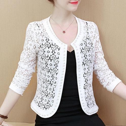 Womens Jackets and Coats Long Sleeve Beading Hollow Lace Women Jacket