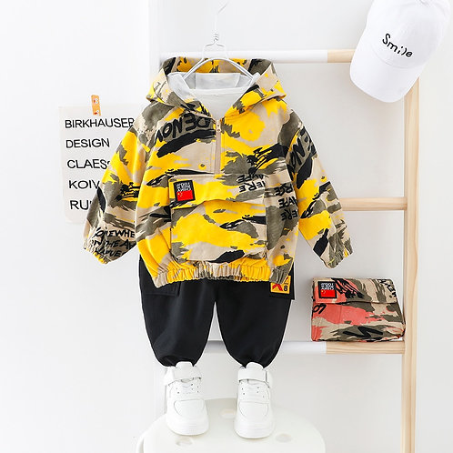 Kids Boy Clothes Camouflage Baby Suit Hooded Camo Top + Pants Sport Children