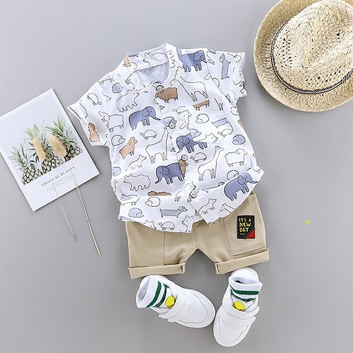 Animal Print Clothes for Toddler Baby Boy Shirt Suit Summer Hot New Children
