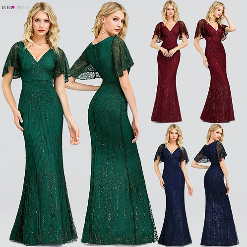 Sparkle Mermaid Evening Dresses Long Ever Pretty Sequined V-Neck Short Sleeve