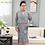 Thumbnail: Mens Robe Cotton Long Sleeve Navy Nightgown Peignoir Bathrobe Plaid Bathrobe
