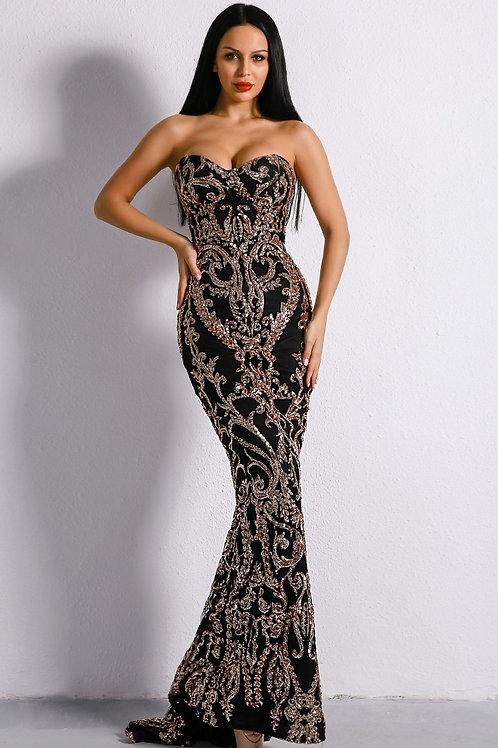 Black Embellished Sequin Gown