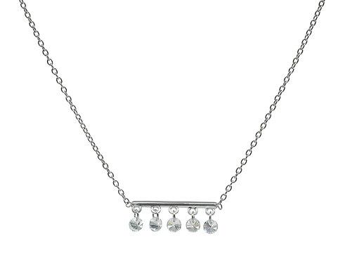 Thin Briolette CZ Bar Necklace
