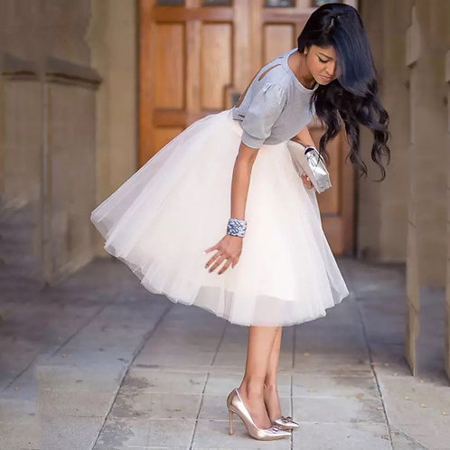 Party Train Puffy 5Layer 60CM Fashion Women Tulle Skirt