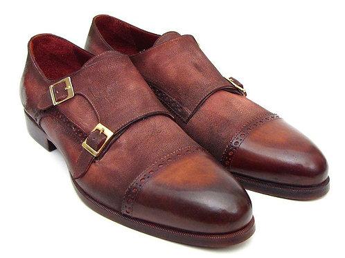 Paul Parkman Men's Captoe Double Monkstrap Antique Brown Suede