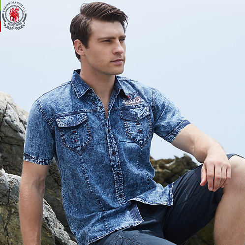 Short Sleeve Denim Shirt Casual Dress  Jean Shirts High Quality 100% Cotton