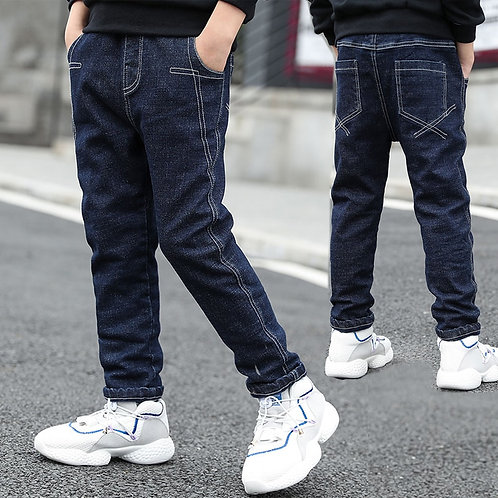 IENENS 5-13y Boys Clothes Slim Straight Jeans Classic Bottoms Children Denim