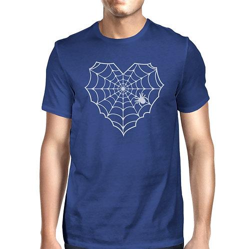Heart Spider Web Mens Royal Blue Shirt