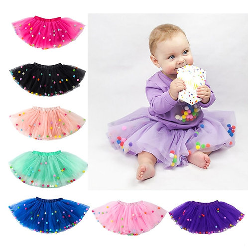 2019 Summer Baby Multilayer Tulle Tutu Skirt Colorful Pom Pom Princess Mini