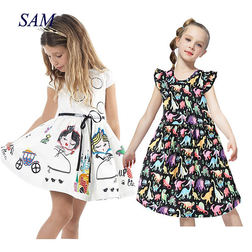 Girls Summer Dress Kids Clothes 2019 Brand Baby Girl Dress With Sashes