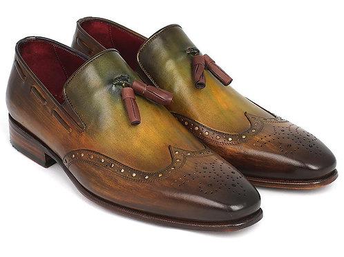 Paul Parkman Men's Wingtip Tassel Loafers Green
