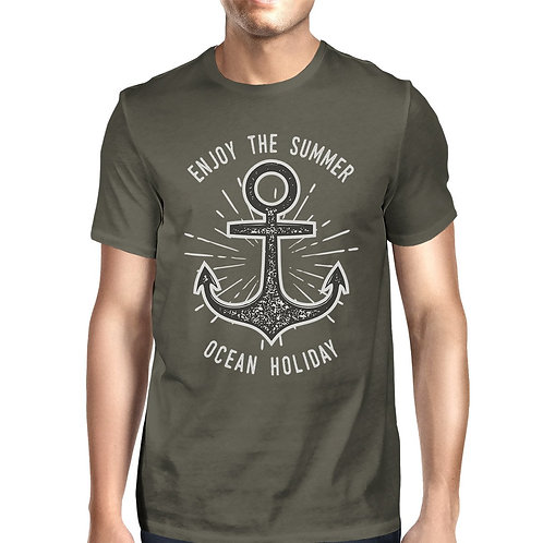 Enjoy the Summer Ocean Holiday Mens Dark Grey Shirt