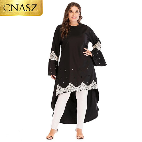 Muslim Arabic Fashion Ladies Elegant Midi 6xl Plus Size Irregular Black