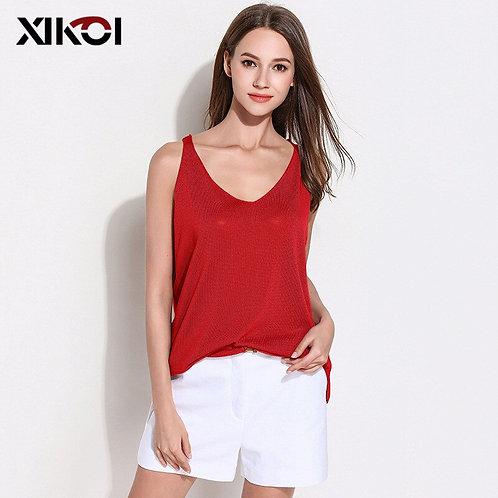 Summer Women Casual Sleeveless O-Neck Sweater Vest Fashion Crop Tops Women