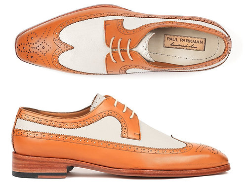 Paul Parkman Dual Tone Wingtip Derby Shoes Cognac & Cream