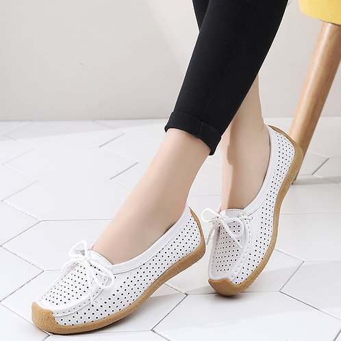 Women Shoes Genuine Leather Flat Loafer Ladies Slip Up Sewing Ladies Shoes