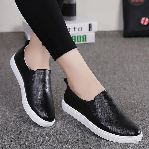 Spring Women Casual Slip on Leather Loafers Fashion