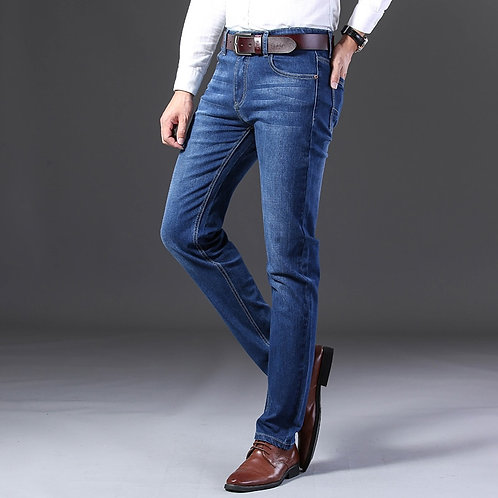Mens Fashion Black Blue Jeans Men Casual Slim Stretch Jeans Classic