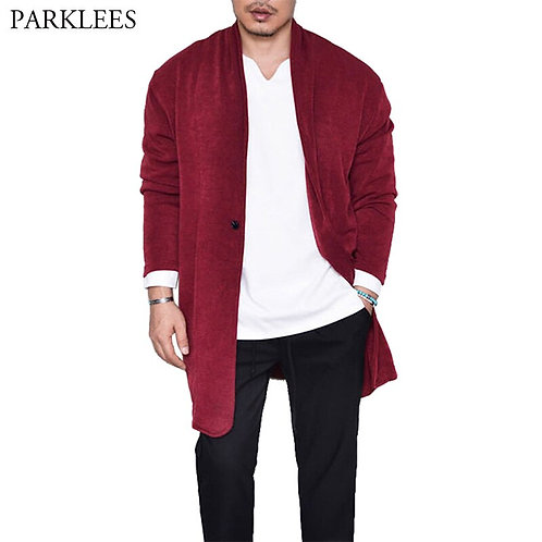 Extra Long Mens Sweater Cardigan Solid Color Male Cardigans Sweaters Mens Jacket