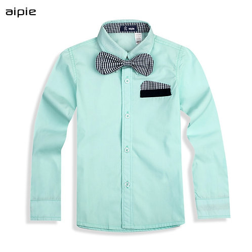 Hot Sale Children's Shirts Fashion England Style With Plaid Bow Tie Cotton