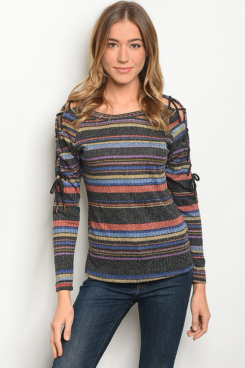 Womens Multi Stripes Top