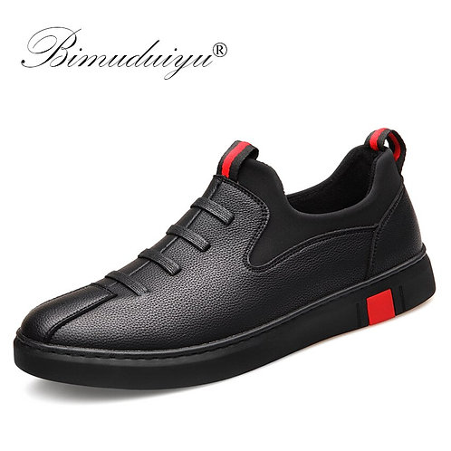 Black Men's Leather Casual Shoes Fashion Breathable Sneakers Comfortable