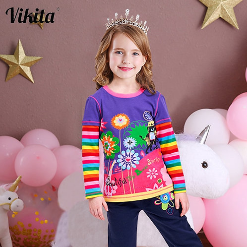 VIKITA T Shirts Children Kids Child T-Shirt Long Sleeve T Shirt for Girls Tops