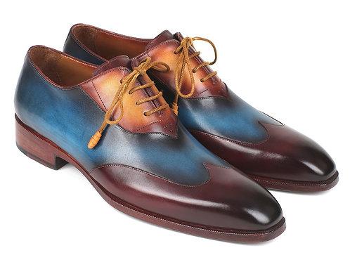 Paul Parkman Three Tone Wingtip Oxfords Bordeaux & Blue & Camel