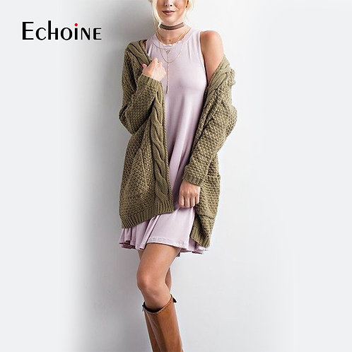 Autumn Winter Fashion Women Long Sleeve Loose Knitting Cardigan Sweater