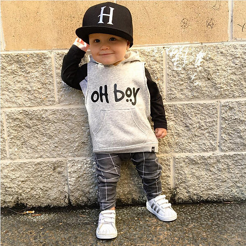 "2020 New  Baby Boys Girl 2PCS Clothes Set ""OH BOY"" Casual Long Sleeve Sweater"