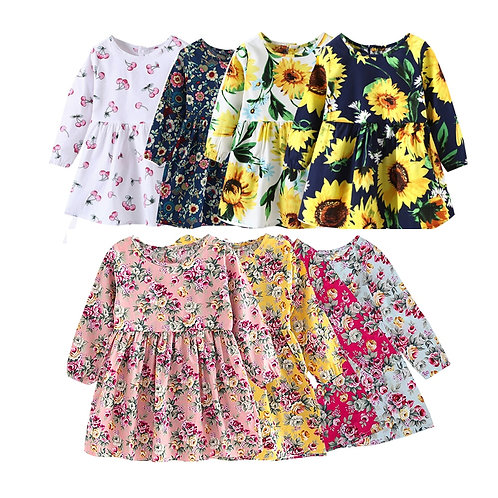 New Kids Long Sleeve Dresses Girls Flower Printed Princess Dress Summer