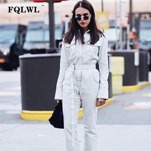 Streetwear Rompers Womens Jumpsuit  Long Sleeve Black White Jeans Jumpsuit