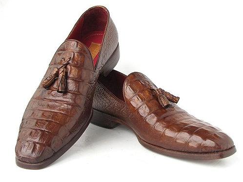 Paul Parkman Men's Brown Crocodile Embossed Calfskin Tassel Loafer