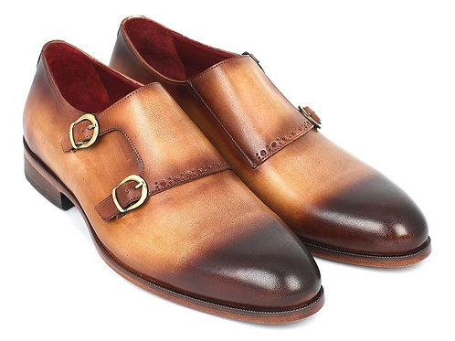 Paul Parkman Two Tone Double Monkstrap Shoes