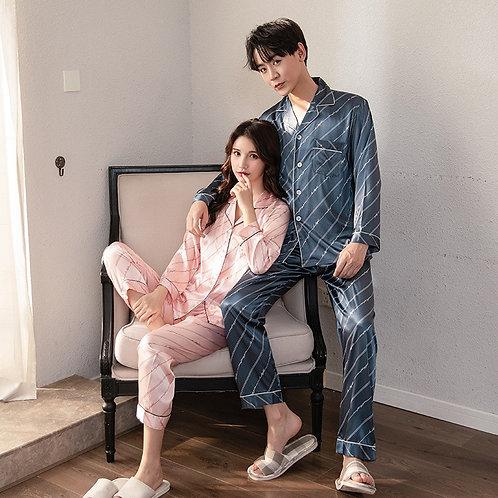 FZSLCYIYI Luxury Pajama Suit Satin Pajamas Sets Couple Sleepwear Family Pijama