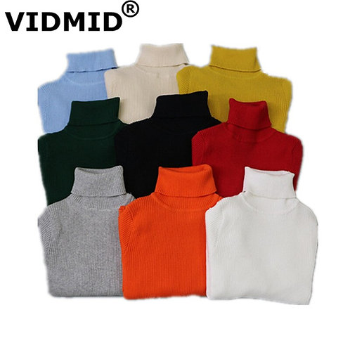 VIDMID Baby Girls Boys Sweater Kids Winter Knitted Warm Sweaters Turtleneck