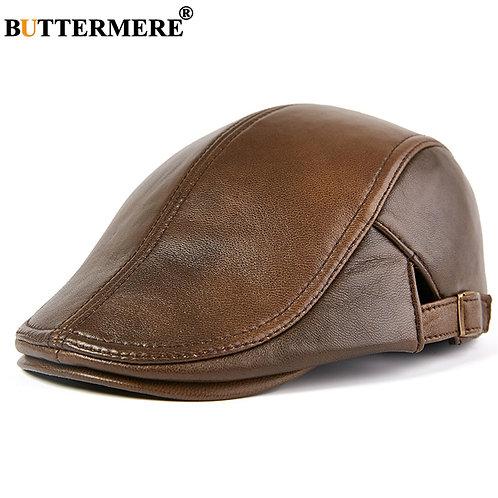 Beret Hat Real Leather Flat Cap Sheepskin Autumn Winter Male Brown
