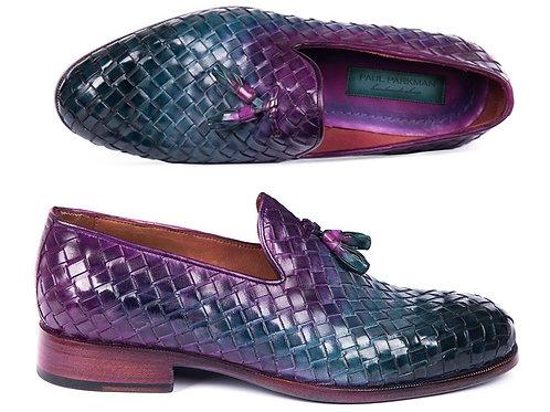 Paul Parkman Woven Leather Tassel Loafers Multicolor