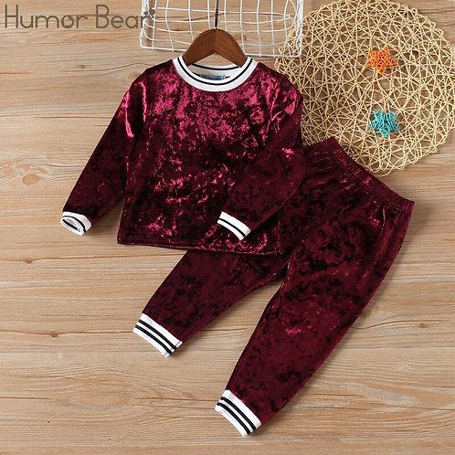 Humor Bear NEW Autumn Baby Girl Clothes Clothing Sets Stripe Velvet Long-Sleeved