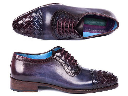 Paul Parkman Woven Leather Captoe Oxfords Navy & Purple