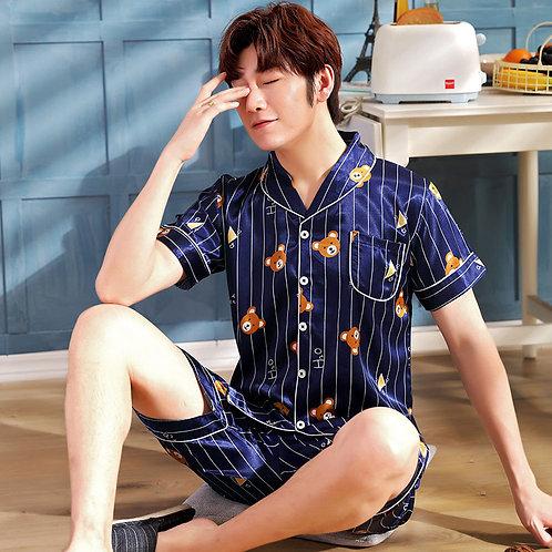 Satin Silk Pajamas Short for Men Summer Sleepwear Male Pajama Set Soft Nightgown