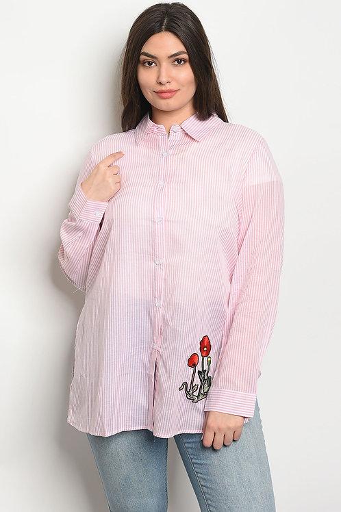 Womens Pink White Stripes Plus Size Top