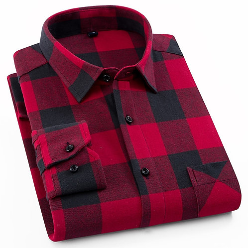 Men's Fashion Outdoor Plaid Brushed Flannel Shirts Single Pocket Casual