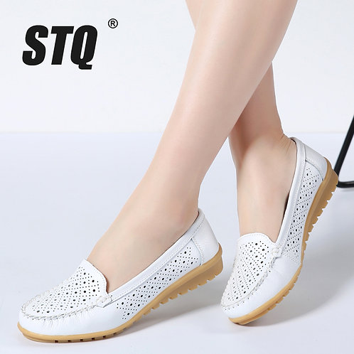 Spring Women Flats Shoes Women Genuine Leather Shoes