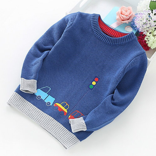 2020 New Boy Sweater Children Clothing Cars Pattern Knitted Sweater Baby Boy